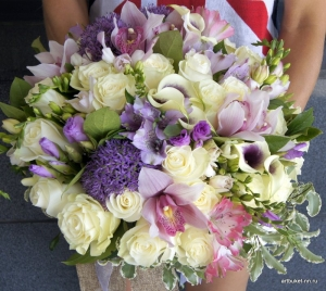 АртБукет, Нижний Новгород, цветы, Роскошный букет с орхидеей, розами и каллами