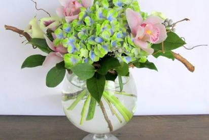 букет с гортензией и орхидеей