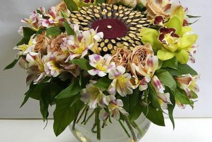 Букет на каркасе с древесными спилами, АртБукет, Нижний Новгород, цветы, купить, коричневая роза, орхидея