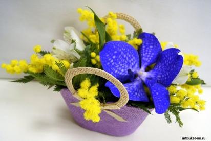 Композиция в сумочке, АртБукет, Нижний Новгород, цветы, купить, орхидея Ванда,мимоза