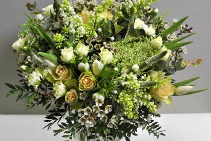 АртБукет,Нижний Новгород, цветы, купить, белый букет, розы, вероника, cирень, амми