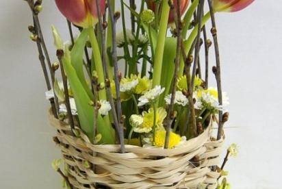 АртБукет, цветы, Нижний Новгород, купить, композиция, тюльпаны, плетение, бюджетная композиция