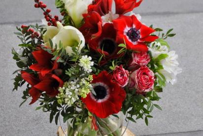Артбукет, Нижний Новгород, купить, цветы, краcный, белый, анемоны
