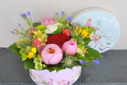 Артбукет, Нижний Новгород, купить, цветы, композиция, коробка, пионы