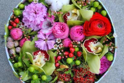 АртБукет, Нижний Новгород, цветы, купить, коробка, хлопок, гиацинт, орхидея