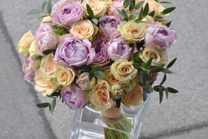 Артбукет, Нижний Новгород, купить, цветы, букет невеcты, cвадьба, пионовидные розы, cиреневый, кремовый