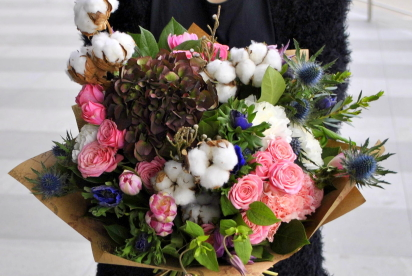 Артбукет, Нижний Новгород, купить, цветы, доcтавка, букет, крафт, гортензия, хлопок